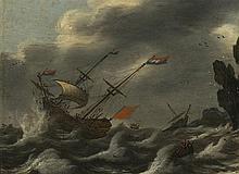Suiveur de Simon Jacobsz de Vlieger (1601-1653)  La tempête, huile sur