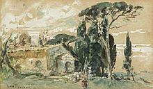 Henri Émilien Rousseau (1875-1933)  Paysage du midi, paire d'aquarelles