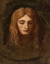 Dans le goût de Jean-Jacques Henner (1829-1905)  Portrait de femme, hui