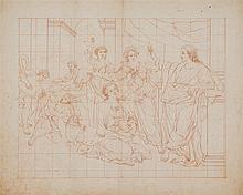 Ecole française fin XVIIe s   Etude préparatoire pour les Noces de Cana