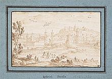 Gabriel Pérelle (1603-1677)  Ville fortifiée animée, plume sur papier,