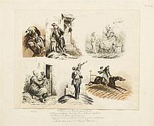 Nicolas-Toussaint Charlet (1792-1845)  Etude de scènes de vie, mine de