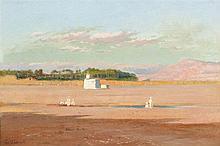 Louis Camille Gianoli (1868-1957)  Paysage de Biskra, huile sur toile s