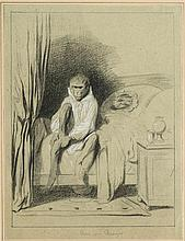 Alexandre Gabriel Decamps (1803-1860)   Le lever du singe, mine de plom