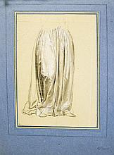 Ecole XIXe s, entourage de Paul Delaroche (1797-1856)  Etude de drapé,