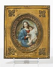 Ecole française XIXe s  Vierge à l'Enfant, miniature sur parchemin, vue
