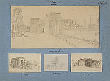 Ecole orientaliste, début XIXe s  Vues d'Egypte, ensemble de 14 aquarel