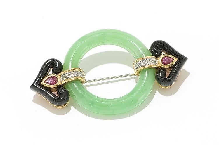 Broche De Style Art D Co En Jade Et Onyx Sertie De Diamants