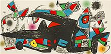 Juan Miro (1893-1983)  Composition géométrique, lithographie cinq coule