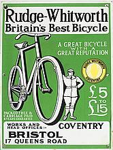 Plaque émaillée publicitaire  Rudge-Whiteworth Bicycle, Angleterre, 55x