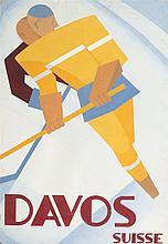 Projet original publicitaire  Davos gouache signée R. Burkhardt, circa