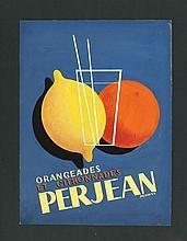 Projet original publicitaire  Orangeades et citronnades Perjean, gouach