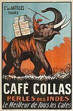 Affiche publicitaire française   Café Collas, Perles des Indes, lithogr
