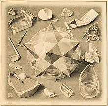 Maurits Cornelis Escher (1898-1972)  Ordre et chaos, lithographie, sign