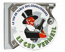 Enseigne émaillée publicitaire  Le Cep Vermeil, design de C.Fay, circa