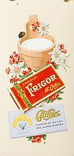 Plaque émaillée publicitaire  Chocolat Frigor et Cailler, circa 1930-40