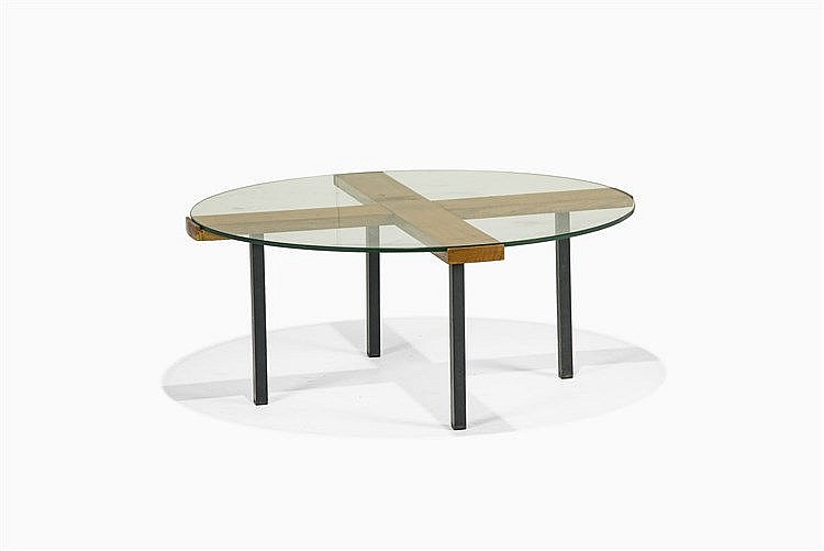 Table basse ronde moderniste bois fruitier verre et m tal l - Table bois metal ...