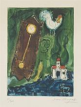 Marc Chagall (1887-1985)  L'horloge, le pendule, lithographie signée et