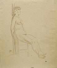 Felix Vallotton (1865-1925)  Nu féminin assis, sanguine sur papier, mon