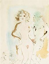 Léonor Fini (1907-1996)  Femme et homme nus, aquarelle monogrammée, 36x