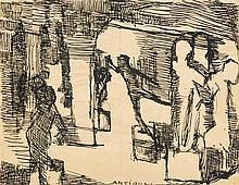Louis Soutter (1871-1942)  Antiques, encre sur papier titrée, 20,5x26,8