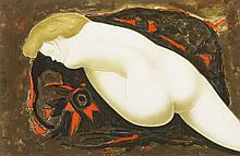 Alain Bonnefoit (1937)  Nu de dos allongé, lithographie signée, 34x53 c