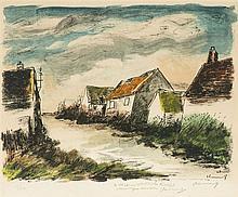 Maurice de Vlaminck (1870-1958)  Village, lithographie signée, dédicacé