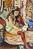 Pierre Cornu (1895-1996)   Femme aux bas rouges lisant, huile sur toile, Pierre (1895) Cornu, CHF400