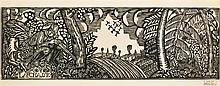 Raoul Dufy (1877-1953)  La chasse, linogravure, tampon de l'atelier Rao