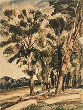 André Dunoyer de Segonzac (1884-1974)  Les arbres au bord du canal, aqu