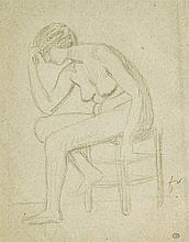 Felix Valloton (1865-1925)  Modèle féminin sur un tabouret, mine de plo