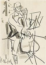 Gen-Paul (Eugène Paul) (1895-1975)  Portrait de Pablo Casals, fusain su
