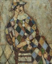 Georges Girard (1917-2003) L'arlequin, huile sur toile, signée, 100x80 cm