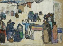 Emile Bressler (1886-1966) Étude de paysage urbain, technique mixte sur pa