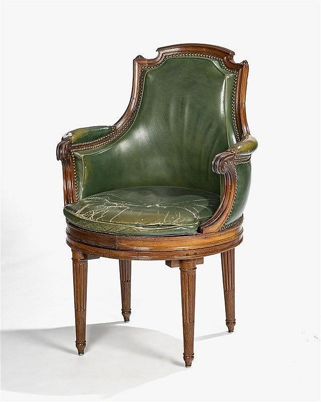 fauteuil de bureau poque louis xvi estampill fc menant. Black Bedroom Furniture Sets. Home Design Ideas