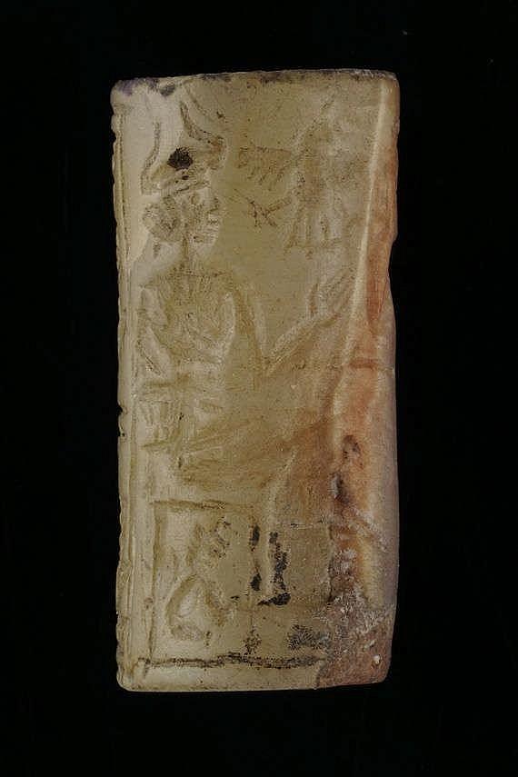 Sceau-cylindre, calcédoine, IIIe dynastie d'Ur, 2112-2004 av. JC