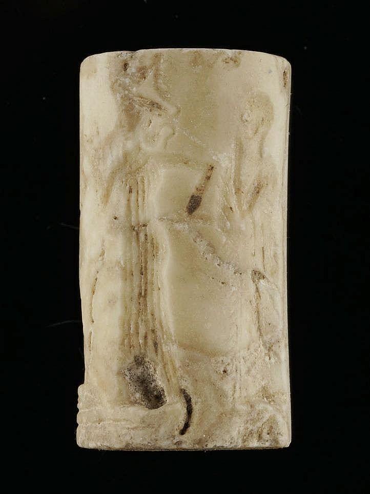 4 sceaux-cylindres, calcaire probablement IIIe dynastie d'Ur, 2112-2004 av. JC
