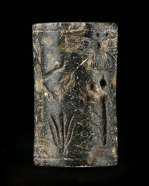 Sceau-cylindre, serpentine, néo-assyrien, 934-610 av. JC