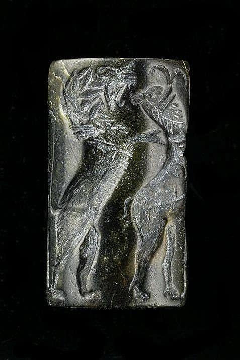 3 sceaux-cylindres diorite et schiste noir, Akkad, 2340-2150 av. JC