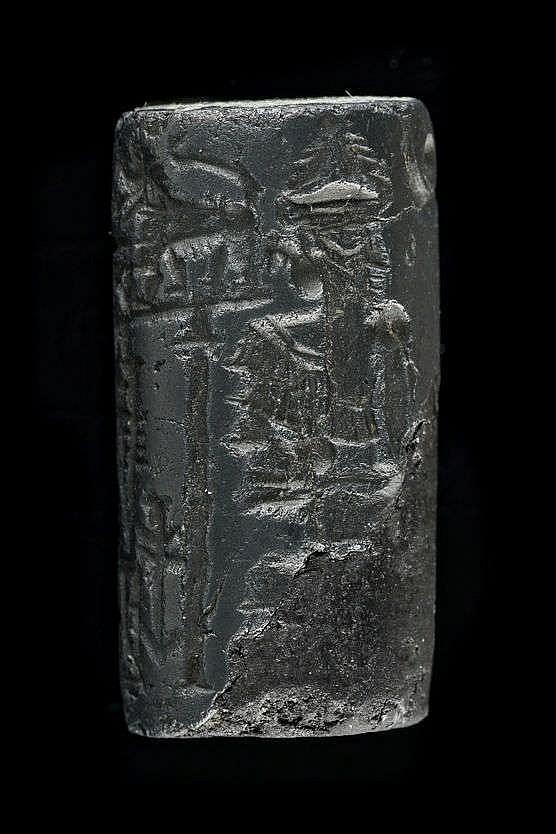 2 sceaux-cylindres, hématite et marbre, IIIe dynastie d'Ur, 2112-2004 av. JC