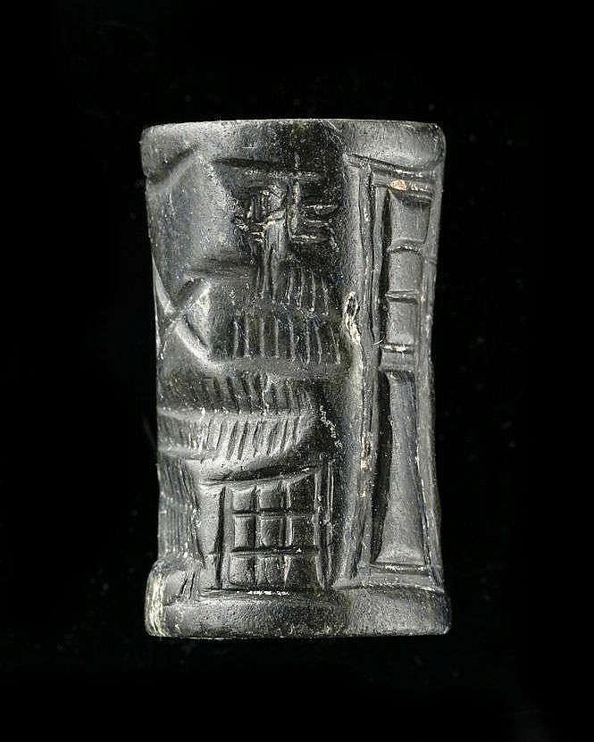 Sceau-cylindre, diorite Akkad, 2340-2150 av. JC