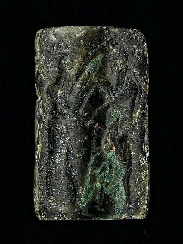 Sceau-cylindre, schiste vert, Akkad, 2340-2150 av. JC