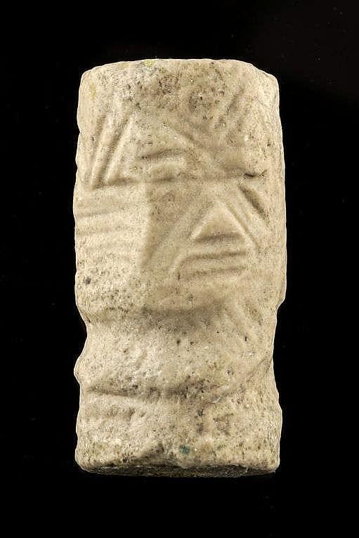 3 sceaux-cylindres, calcaire et marbre, dynastie archaïque, tôt, 2900-2600 av. JC