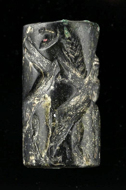 Sceau-cylindre, marbre noir, IIe millénaire av. JC