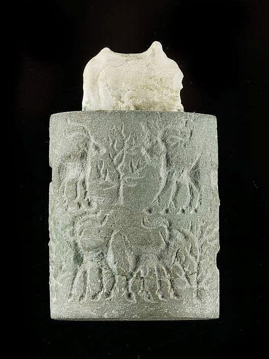 Sceau cylindre, schiste vert, Uruk récent, 3300-3000 av. JC