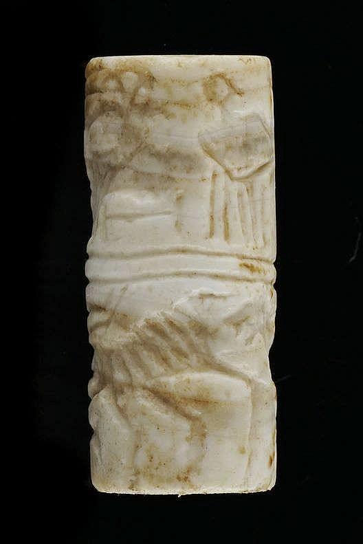 2 sceaux-cylindres, marbre et calcaire, dynastie archaïque, tardif, 2600-2340 av. JC