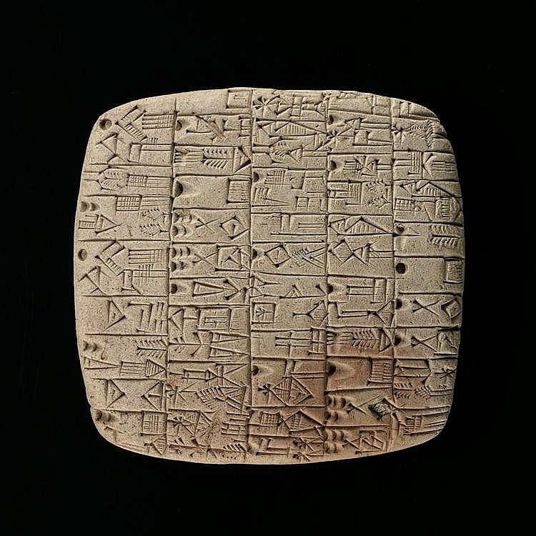 Tablette cunéiforme, Mésopotamie, site de Fara, période présargonique, dynastie archaïque, 2900-2340 av. JC