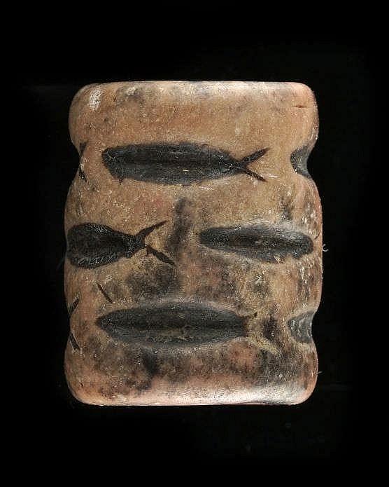 3 sceaux-cylindres, marbre rose, stéatite et calcaire, Djemdet-Nasr, 3000-2900 av. JC