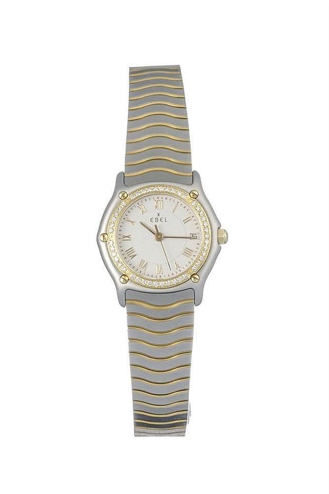 Ebel, montre bracelet ronde à quartz sertie de diamants