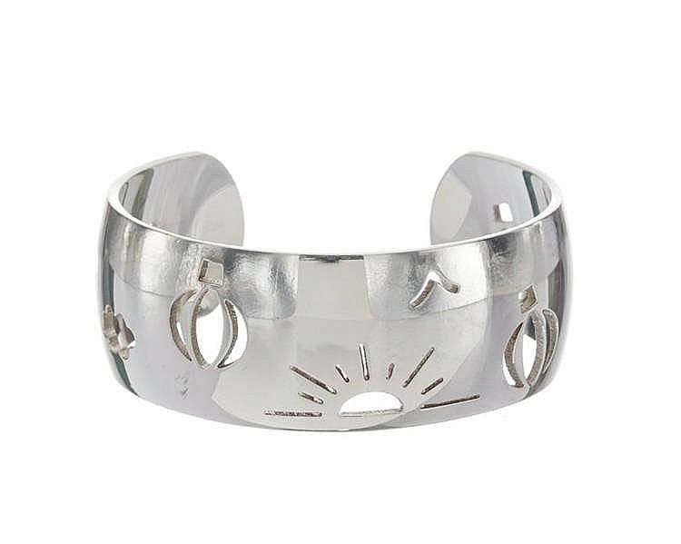 Hermès, bracelet jonc ouvert ajouré à motifs de montgolfières